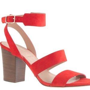 J Crew Aubrey Mid Heel Sandals Orange Suede Italy